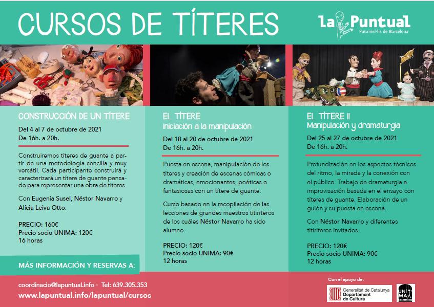 El próximo mes de octubre LA PUNTUAL organiza tres Cursos de Títeres muy interesantes